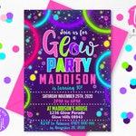 GLOW PARTY INVITATION Glow Invitation Neon Glow Party invitation Glow Birthday Invitation Editable Corjl Glow in the dark invite Neon Party