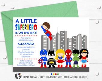 Superhero baby shower invitation Etsy