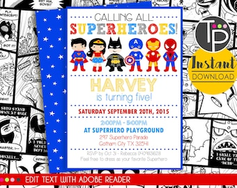 SUPERHERO Party Invitation INSTANT DOWNLOAD Superhero Invitations Printable Edit Yourself