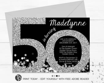 Silver 50th Birthday Invitation Instant Download Invitations Black And Printable Adult