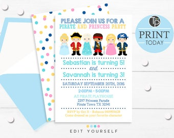 Princess pirate invitations etsy pirate and princess party invitation instant download invitation boy girl party joint birthday invitation pirate and princess invitation filmwisefo