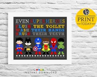 SUPERHERO BATHROOM SIGN Instant Download Signs Kids Bathroom Rules Sign Superhero Wall Art Childrens