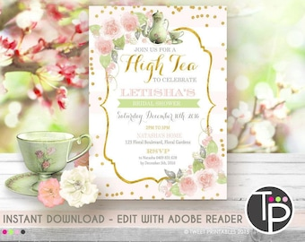 high tea invitation etsy