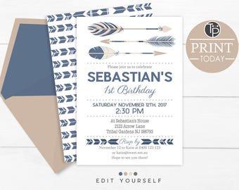 TRIBAL BIRTHDAY INVITATION Instant Download Tribal Party Invitation 1st Birthday Boy Navy Arrow
