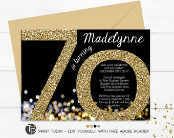 70th Birthday Invitation Instant Download Invitations Gold Glitter Adult