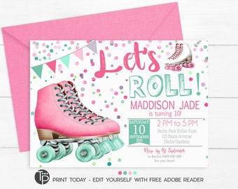 ROLLER SKATE INVITATION Roller Skate Party Invitation Birthday Rollerskating 0258