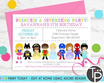 Printable invitation etsy princess superhero party invitation instant download princess superhero invitation princess superhero party printable invitation filmwisefo