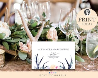 Antler table card etsy boho place cards instant download wedding place cards name tent cards seating cards bohemian wedding antler wedding edit yourself solutioingenieria Image collections