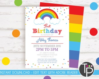 rainbow invitations etsy
