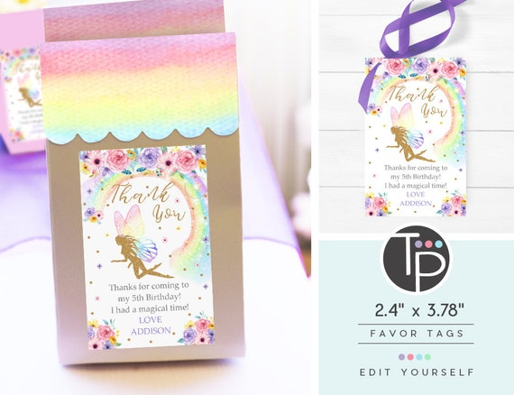 Set of 10 Magical Rainbow Fairy Party Favor Gift Tags Bookmark Thank You Favor Bag Fairy Gift Tags