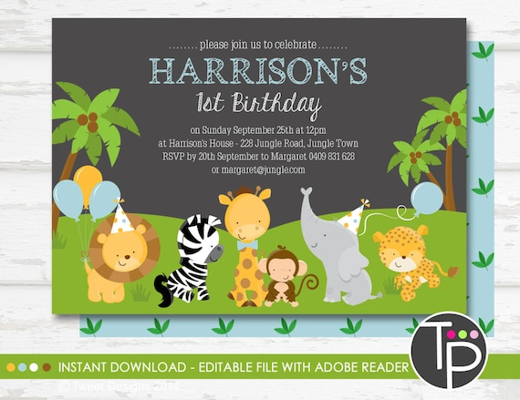 JUNGLE ANIMAL Birthday Invitation Instant Download Jungle Animal Edit Yourself With Adobe Reader