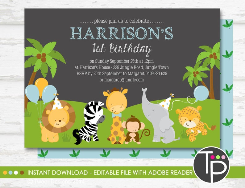 JUNGLE ANIMAL Birthday Invitation Instant Download Jungle
