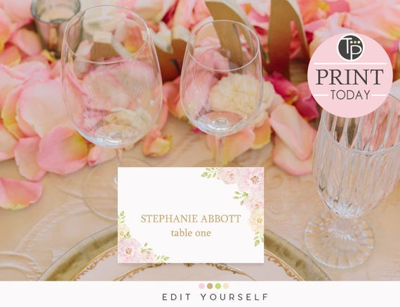 Rose place cards instant download wedding place cards name etsy image 0 solutioingenieria Images