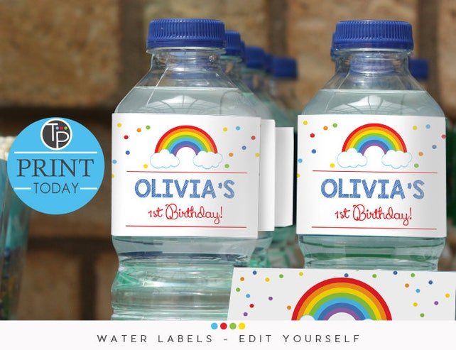RAINBOW WATER BOTTLE Labels, Water Bottle Wrapper, Rainbow Printable, instant download water bottle labels, Printable, Rainbow Party, 0202