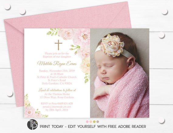 Girl Photo Baptism Invitation Instant Download Editable Christening Rose