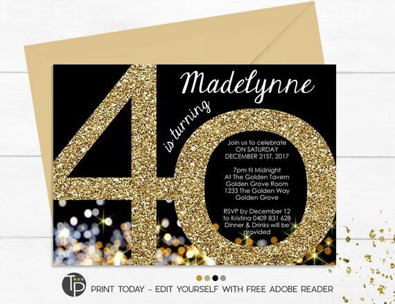 40th birthday invitation instant download invitations gold etsy