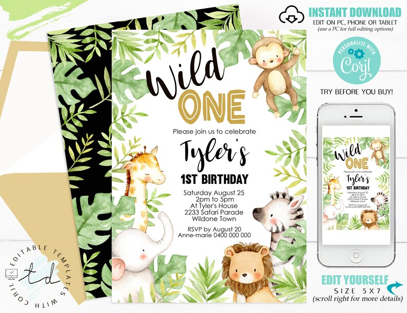 Wild One Jungle Birthday Invitation 1st Birthday Invitations image 0