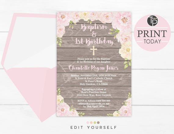 Baptism And 1st Birthday Invitation Instant Download Rustic Floral Baptism Invitation Girl Baptism 1st Birthday Invitation Woodsy Invite