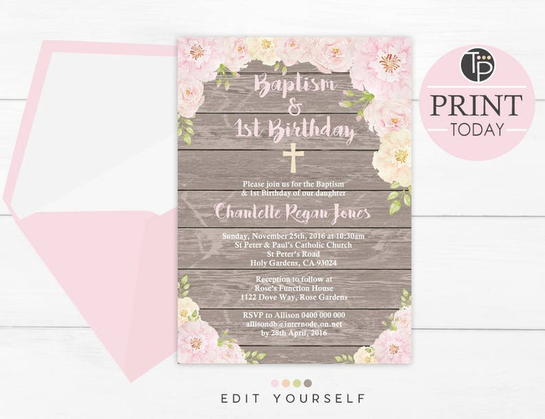 Baptism And 1st Birthday Invitation Instant Download Rustic Floral Girl Woodsy Invite