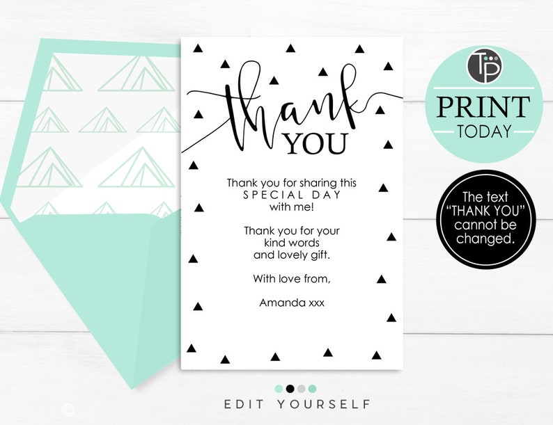 photo regarding Printable Thank You Cards Black and White identified as Geometric THANK By yourself Card, Black and white Thank your self Playing cards, Calligraphy Thank oneself Card, Editable Geometric Thank your self, Printable Thank oneself