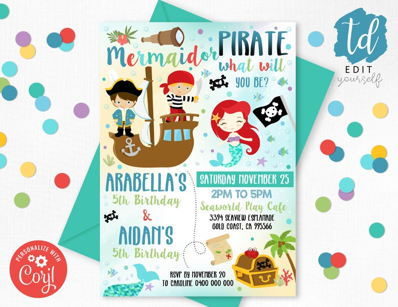 MERMAID PIRATE Invitation Instant download Sibling Mermaid and image 0