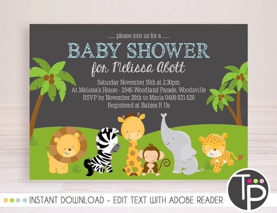 Jungle Animal Baby Shower Invitation Instant Download Baby Etsy