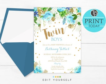 TWIN BOYS Baby Shower Invitation, Instant Download, Twins Baby Shower Invitation, Boy Baby Shower invitation, Blue Floral Baby Shower