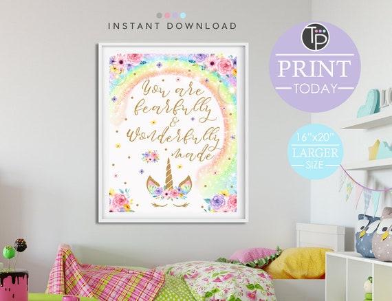Unicorn Print Rainbow Unicorn Print Printable Wall Art Etsy