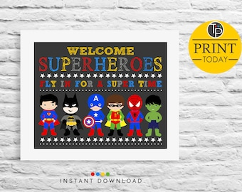 SUPERHERO WELCOME SIGN, Instant Download Signs, Superhero Sign, Superhero Birthday Welcome Sign,Superhero Party, Superhero Printable, Sign