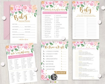 GIRL BABY SHOWER Games Instant download Baby Shower Games Pink Floral Baby Shower Games Girl Baby Shower Games Printable Pink Gold Baby 0207