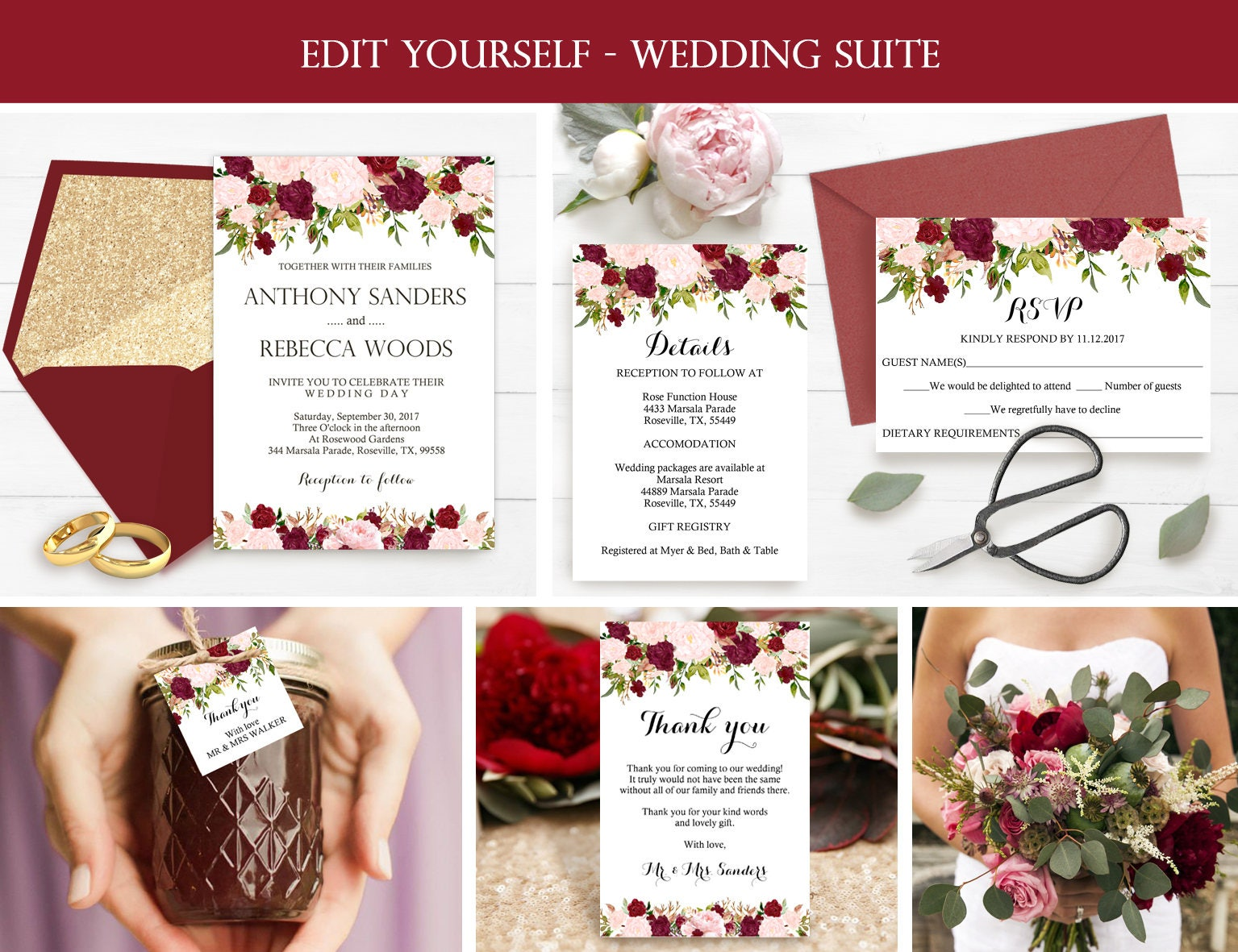 Wedding Invitation Suite Templates: Wedding Invitation Template Wedding Invitation Suite
