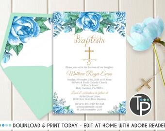 Blue Rose Baptism Invitation, Instant Download, Watercolor Flowers Baptism Invitation, Boy Baptism invitation, Boy Christening Invitation