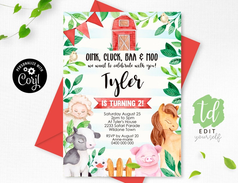 FARM Birthday Invitation Instant Download Farm Animals image 0