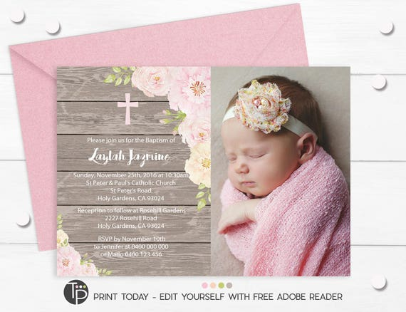 photo baptism invitation instant download editable baptism etsy