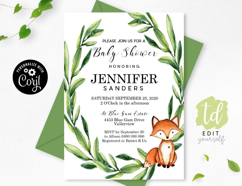 Fox Baby Shower Invitation Editable Wreath Fox Baby Shower image 0