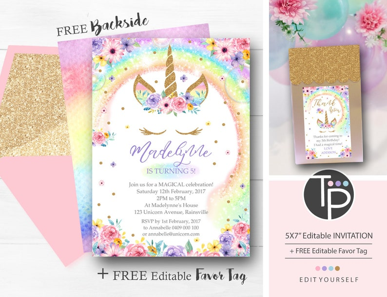 RAINBOW UNICORN Birthday Invitation Rainbow Unicorn