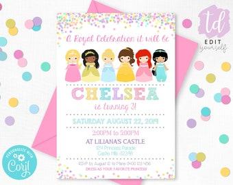 PRINCESS INVITATION Instant Download Princess Party Invitation Princess Editable Princess Birthday Invitation Princess party Corjl 0217