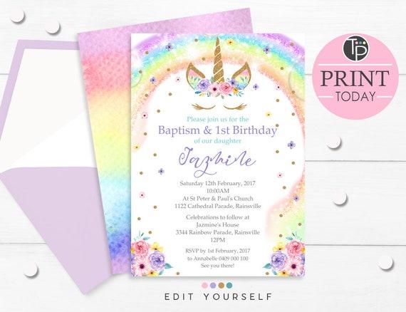 Rainbow Unicorn Baptism Invitation Rainbow Unicorn Baptism 1st Birthday Invitation Instant Download Unicorn Baptism Invitation 0210