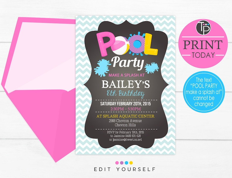 GIRL POOL PARTY Invitation Instant Download Pool Party image 0