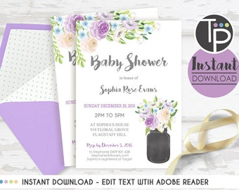 MASON JAR Baby Shower Invitation, Instant Download Baby Shower Invitation, Modern Baby Shower invitation, Edit yourself, Purple Mason Jar