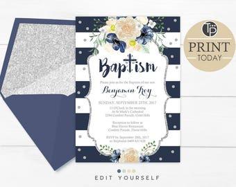 Navy Floral Baptism Invitation, Instant Download, Navy Watercolor Flowers Baptism Invitation, Boy Baptism Invitation, Navy Stripes Baptism