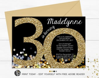 30th Birthday Invitation, Instant Download Invitations, editable invitation, Gold 30th Birthday Invitation, Gold Glitter 30th Invitation