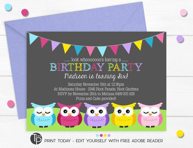 OWL BIRTHDAY Invitation Instant Download Invitations Owl