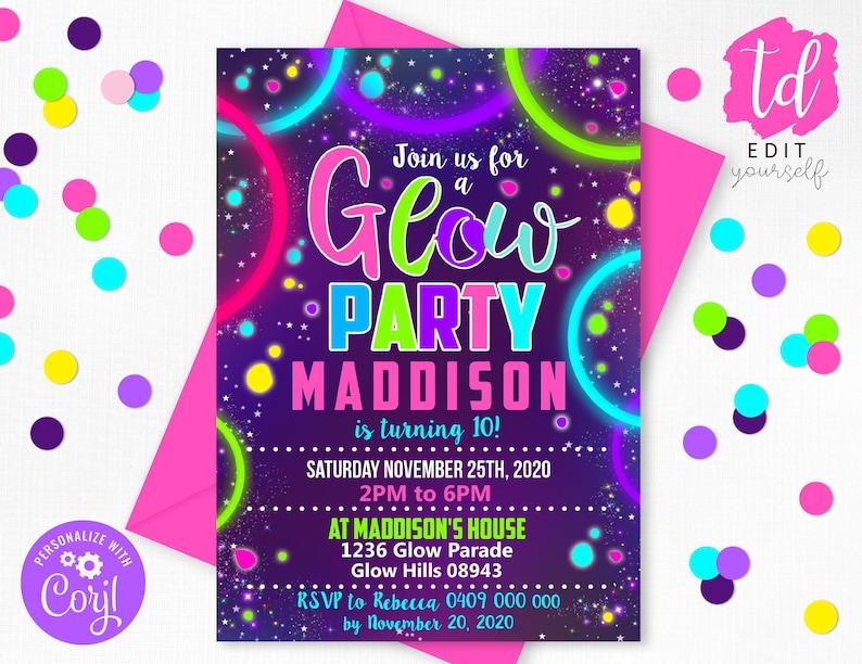 GLOW PARTY INVITATION Glow Invitation Neon Glow Party image 0