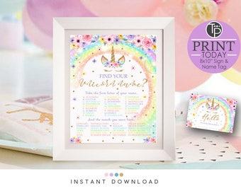 RAINBOW UNICORN GAME, Instant Download Unicorn Game, Rainbow Unicorn Party, Unicorn Name Game, Whats your Unicorn Name Game, 10x8 Sign 0210