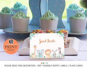 Jungle Animals Buffet labels, Instant download, Buffet Food labels, Name tent cards,  Seating Cards, Place Cards, Edit yourself, Jungle