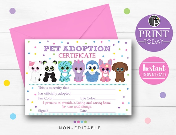 Beanie Boo Adoption Certificate Beanie Boo Party Pet Etsy