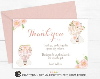 Pink Hot Air Balloon THANK YOU CARD, Instant Download, Vintage Hot Air Balloon Thank you, Baby Shower Thank you, Girl Thank you Card, 0505