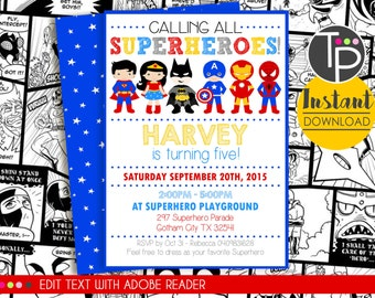 SUPERHERO Party Invitation, INSTANT DOWNLOAD, Superhero Invitations, Superhero Party Invitation, Superhero printable, Edit yourself