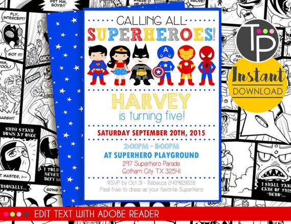 Superhero Party Invitation Instant Download Superhero Etsy